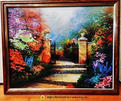 картина бисером сад
