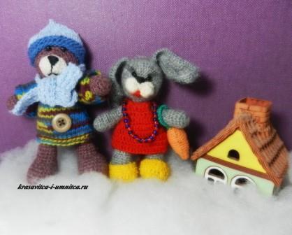 вязаные крючком мишка и заяц