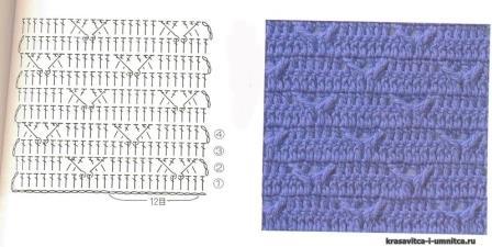 схема для кофты крючком