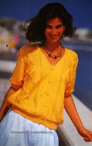 Ярко-желтая кофточка спицами