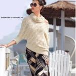 Женский асимметричный пуловер со снудом спицами