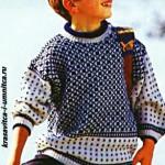 Детский пуловер для мальчика спицами жаккардовым узором