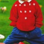 Красный пуловер для девочки с вышивкой спицами