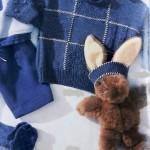 Детский пуловер спицами в стиле пэчворк